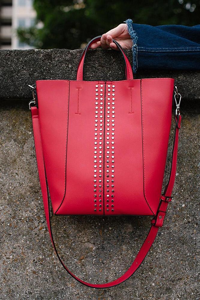 сумки женские красная заклепки