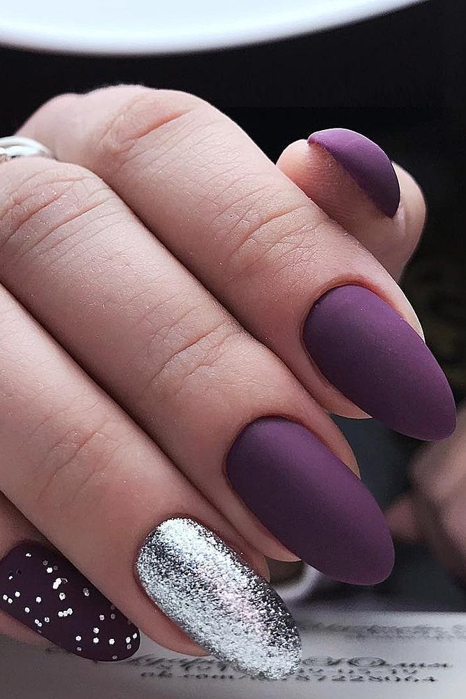 матовый маникюр фиолет