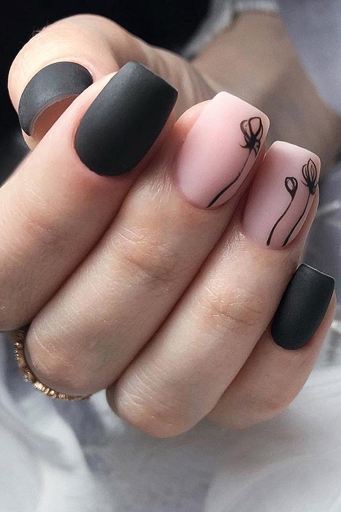 матовый маникюр черный розовый