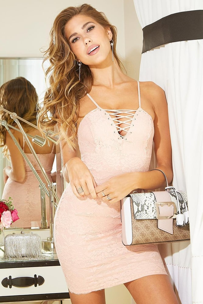коктейльные платья персиковое платье со шнуровкой
