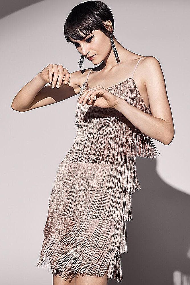 коктейльные платья платье в винтажном стиле с бахромой