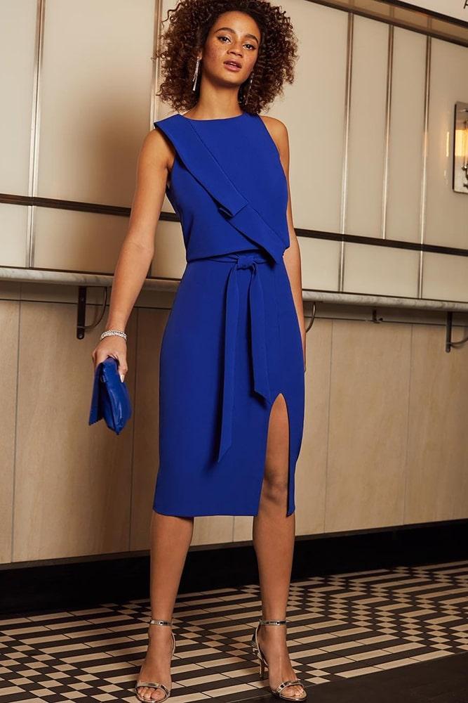 коктейльные платья синее платье с разрезом