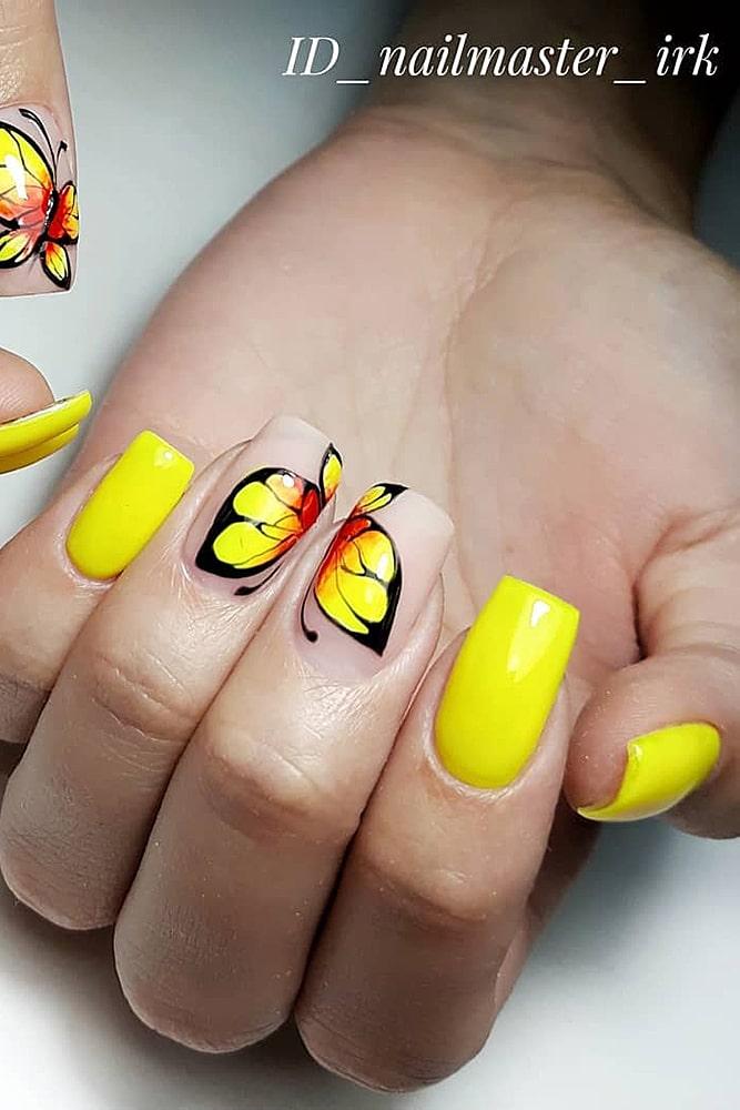 гель лак дизайн желтая бабочка