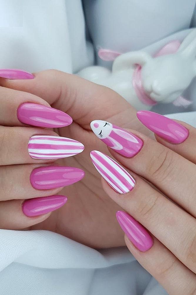 гель лак дизайн розовые полоски