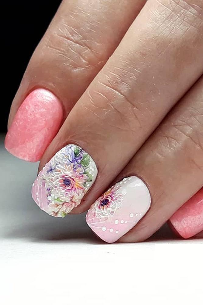 гель лак дизайн розовые цветы