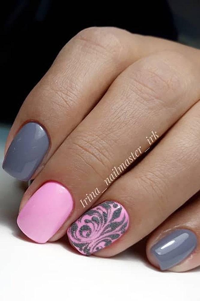 гель лак дизайн серо розовый