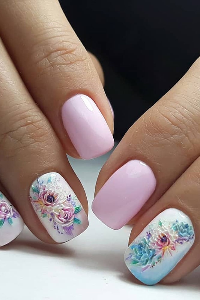 гель лак дизайн цветы пастель