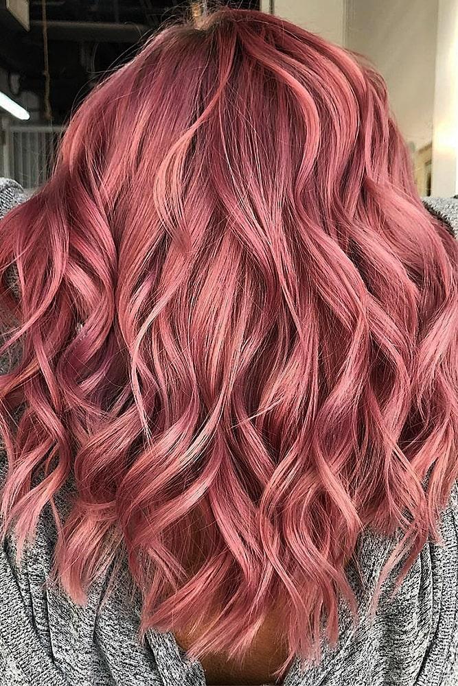 модное окрашивание розовый жемчужный
