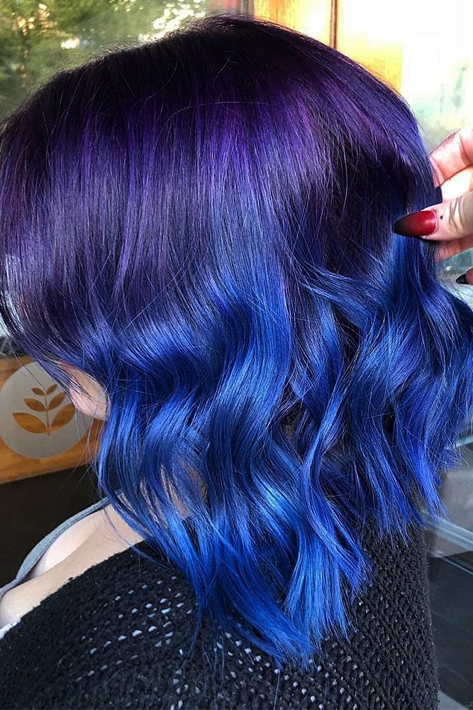 модное окрашивание синий фиолетовый