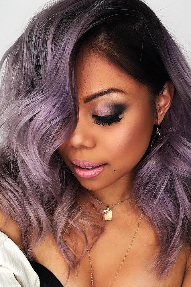 модное окрашивание фиолетовый