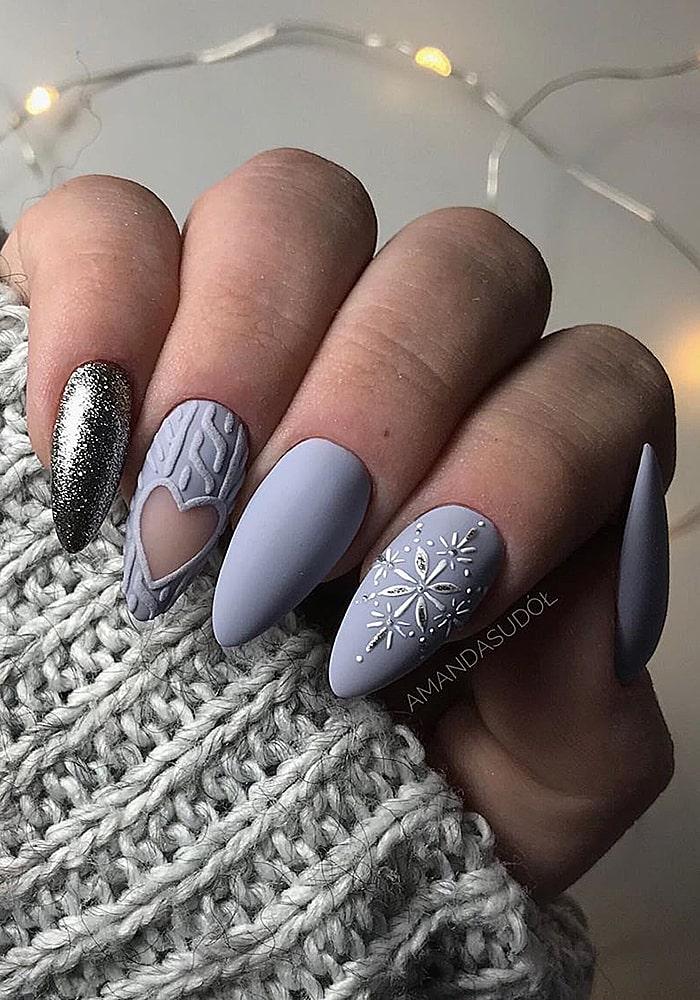 втирка для ногтей серый с сердечком