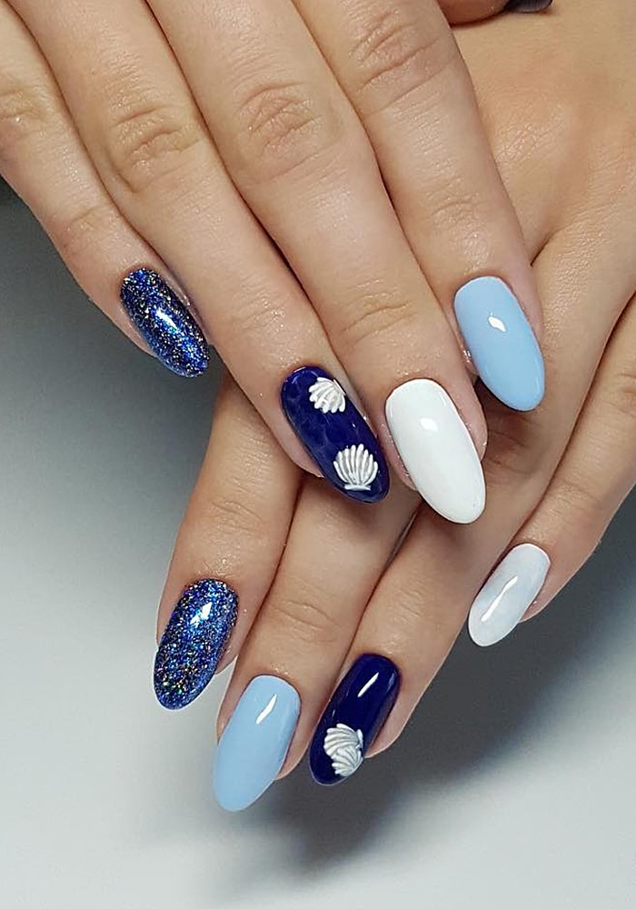 втирка для ногтей синий голубой глитер