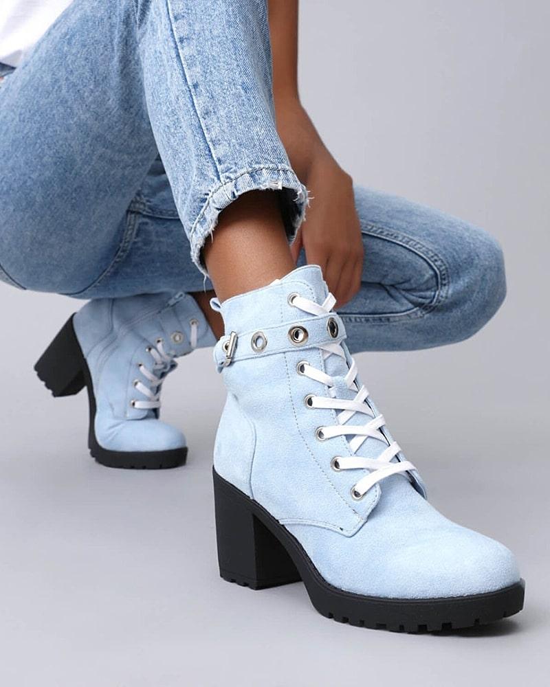 модная обувь ботинки голубые