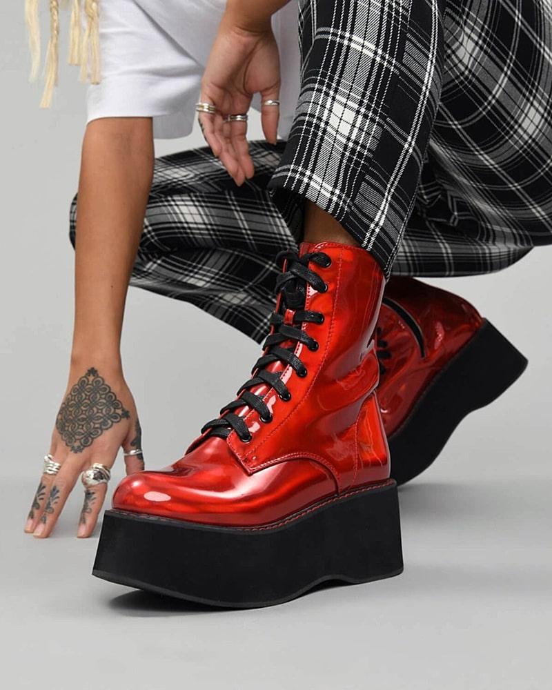 модная обувь ботинки красные