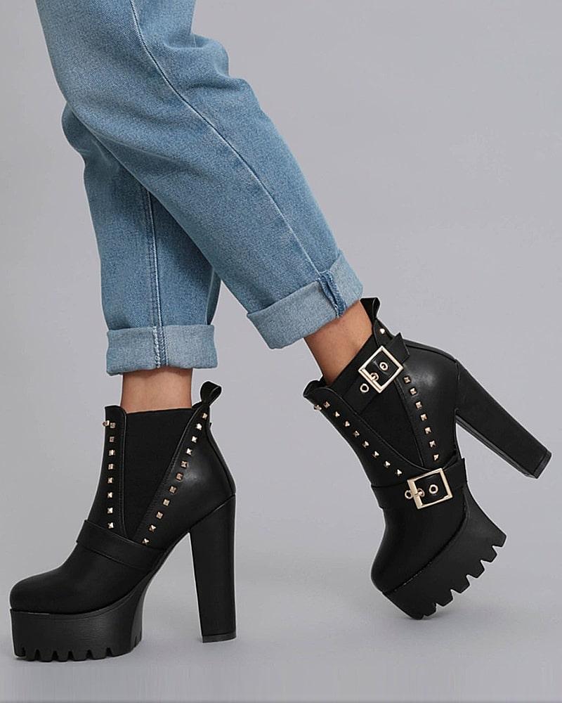 модная обувь ботинки черные платформа