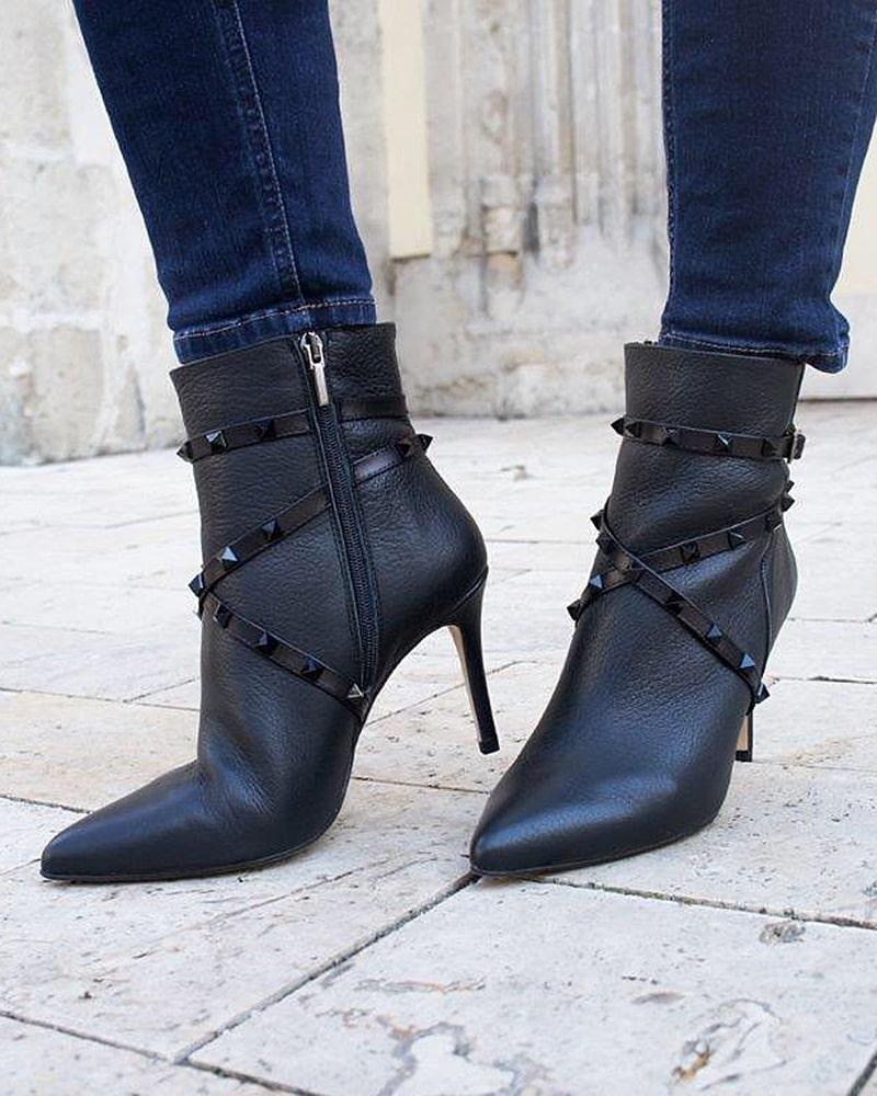 модная обувь ботинки черные шпилька