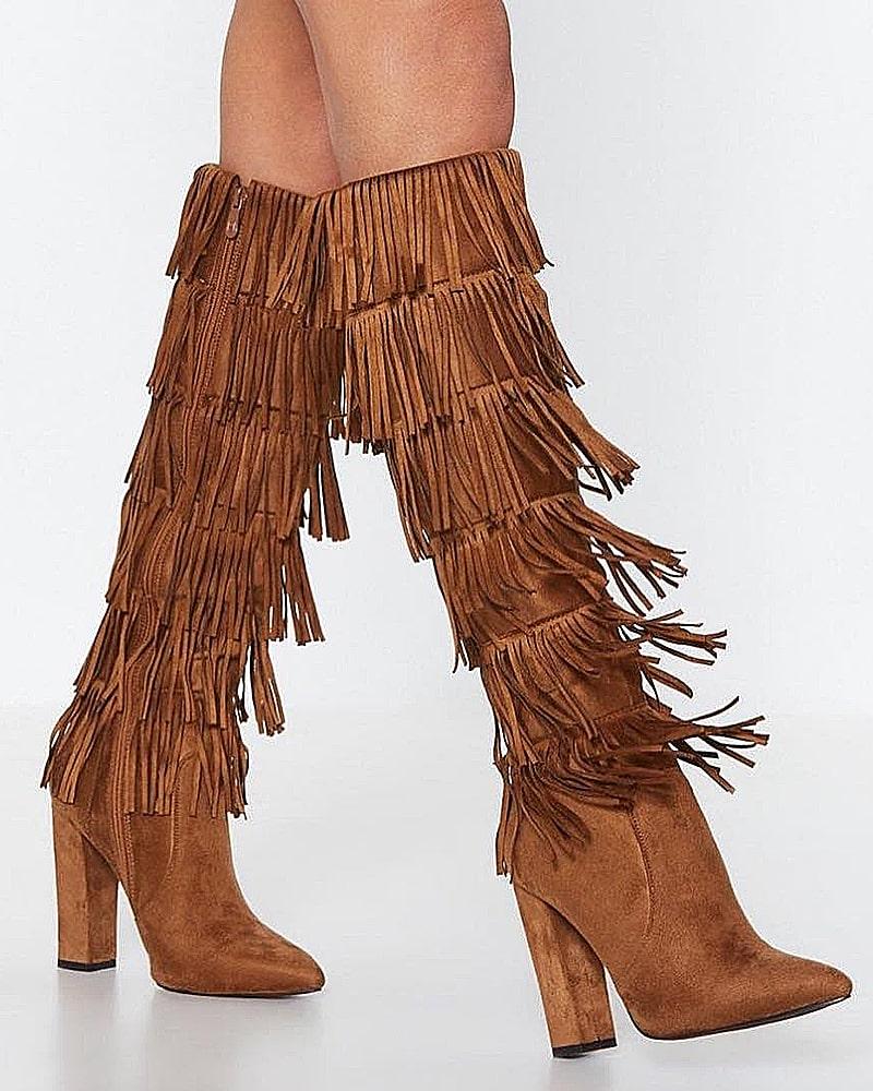 модная обувь сапоги бахрома