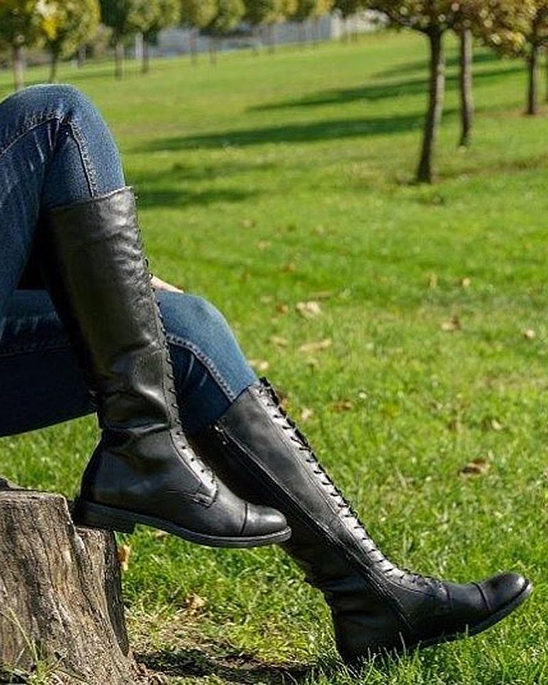 модная обувь сапоги шнуровка