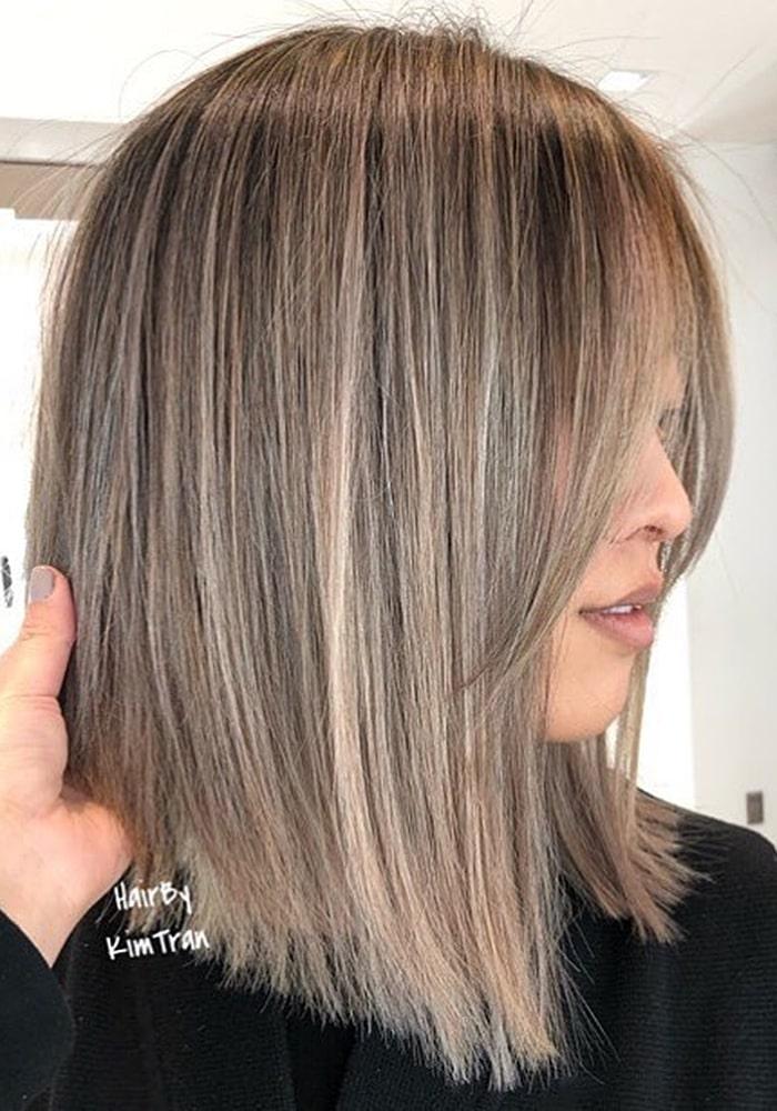 стрижки на средние волосы пепельный оттенок