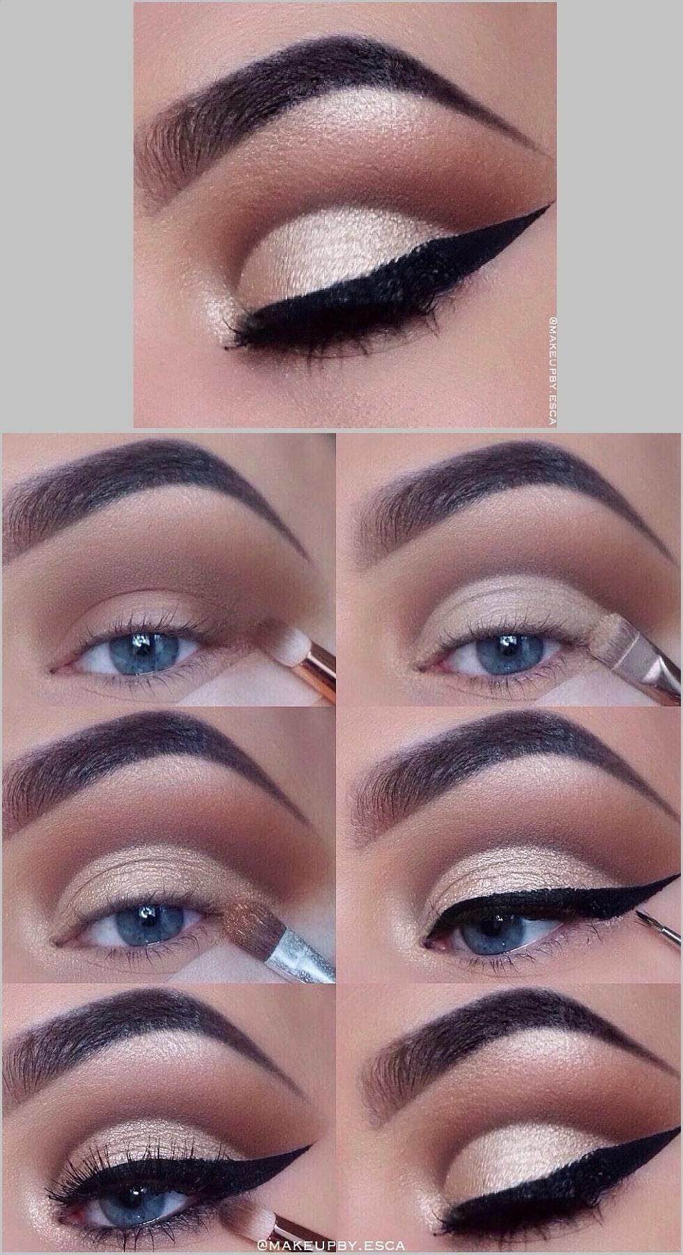 макияж глаз золотой стрелка