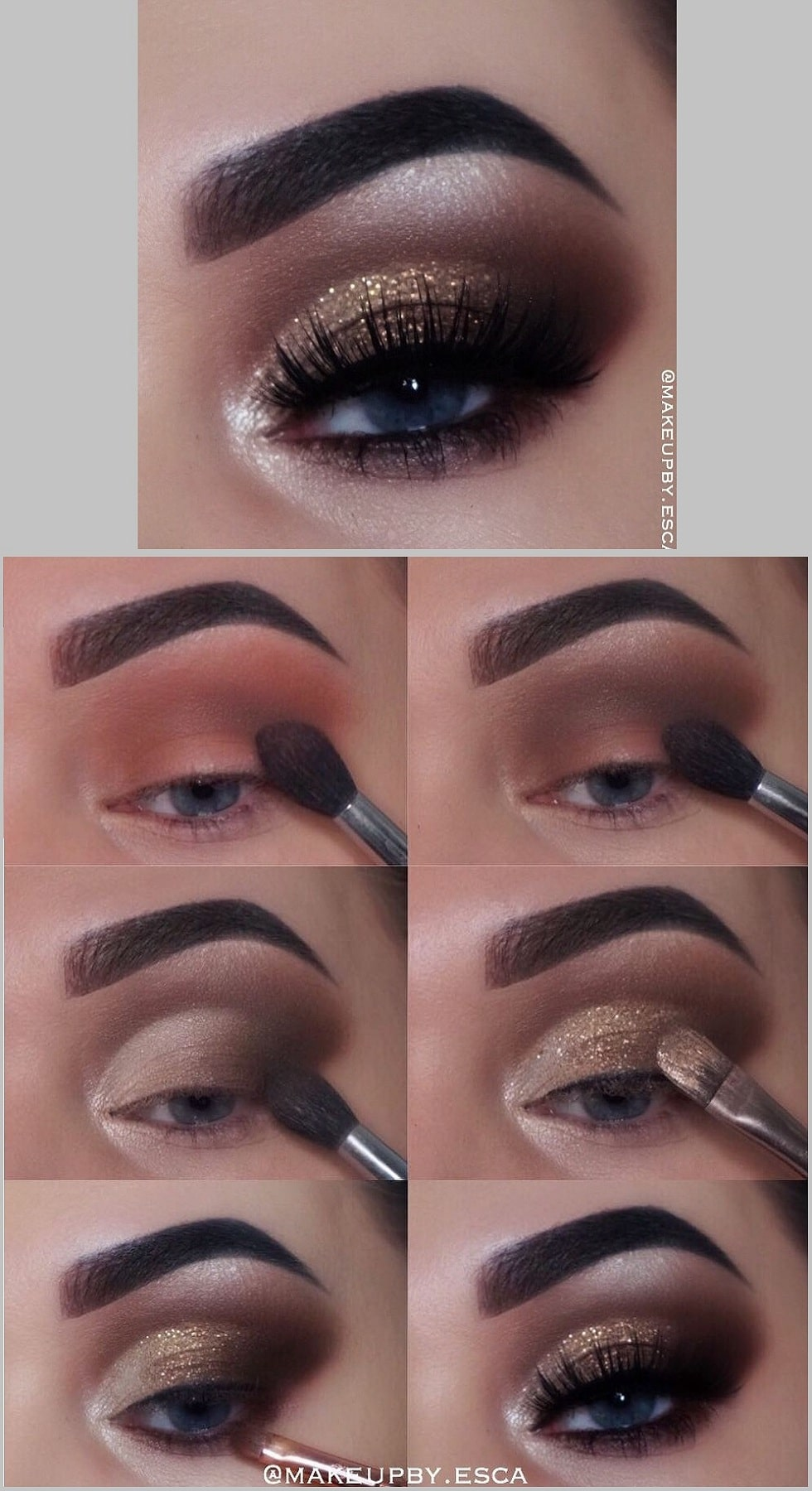 макияж глаз мерцающий золотой