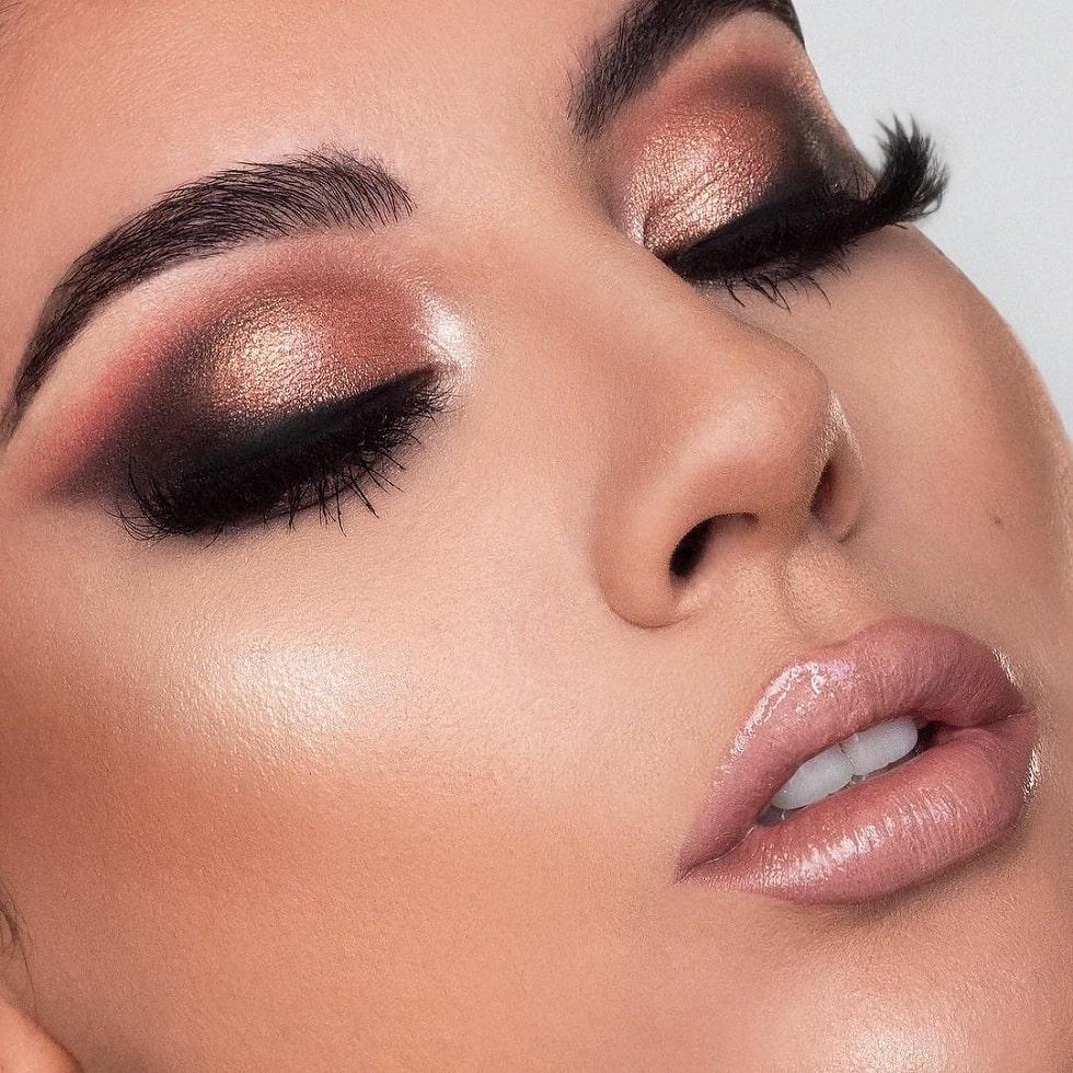 макияж глаз персик