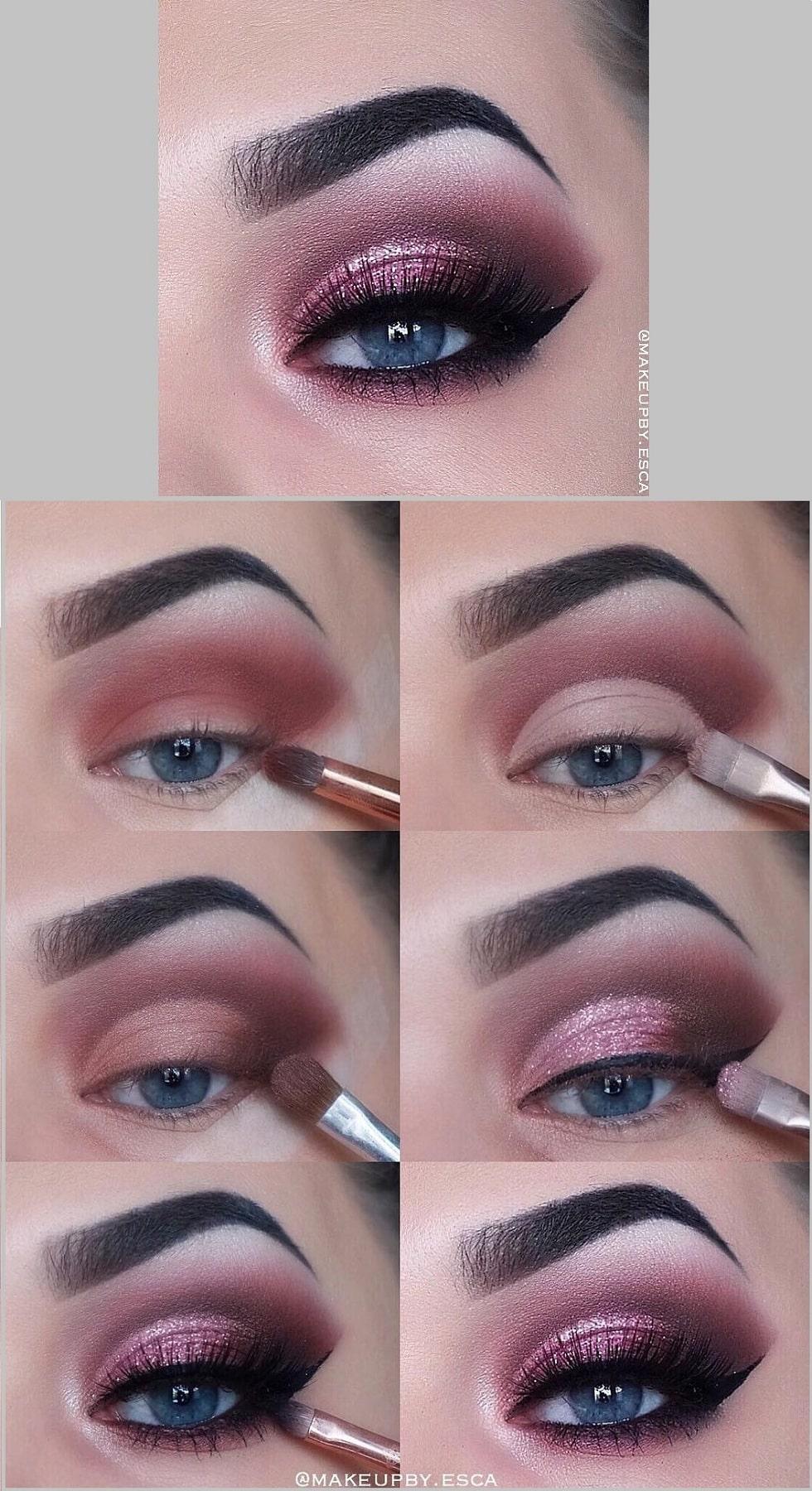 макияж глаз розовый