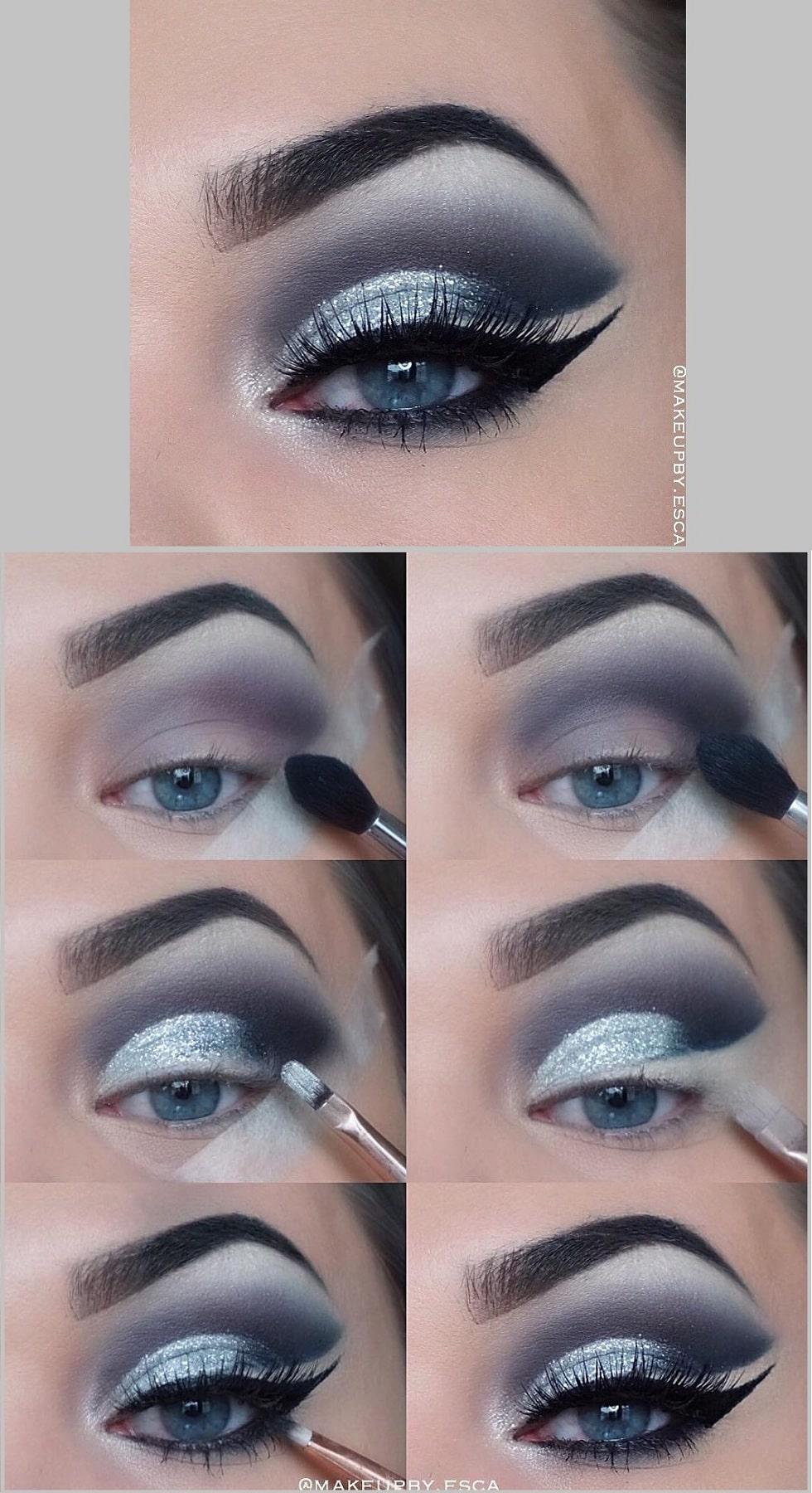 макияж глаз серый