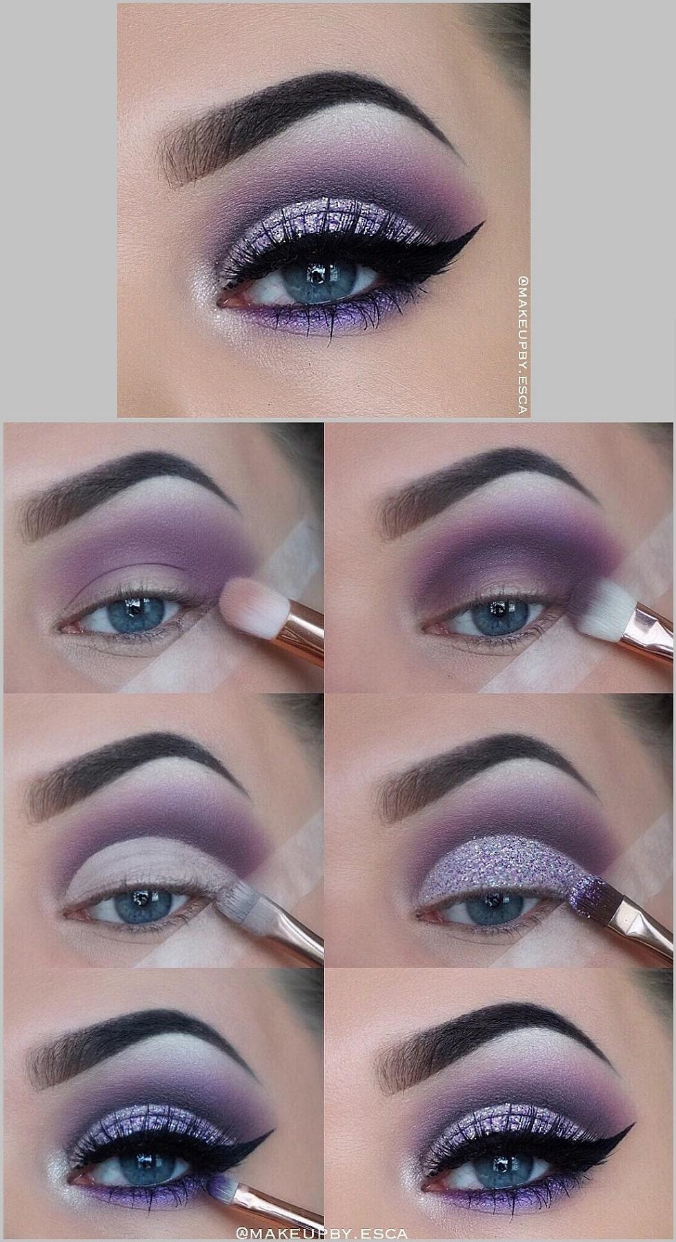 макияж глаз сирень