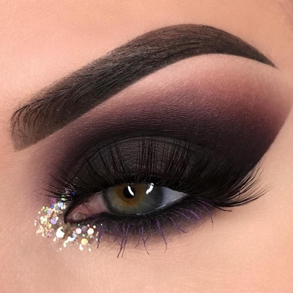 макияж глаз темное бордо