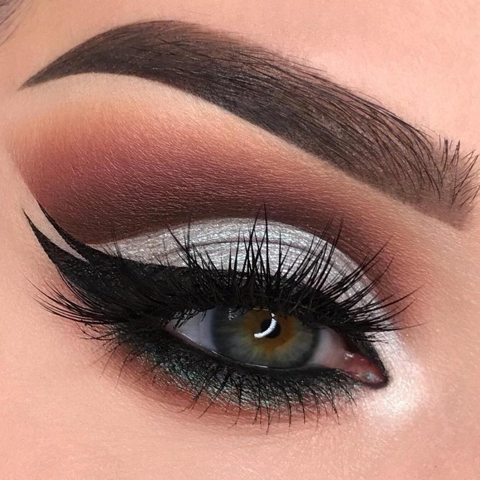 макияж глаз серебро