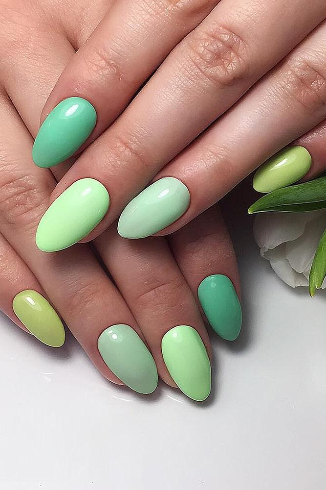 модный маникюр зеленые оттенки