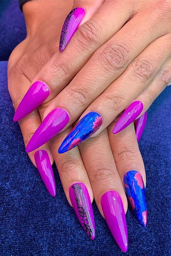 летний маникюр длинные ногти