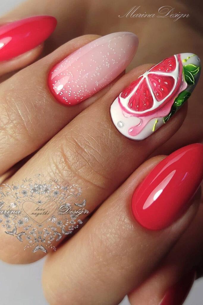 летний маникюр красивый декор лето ногти