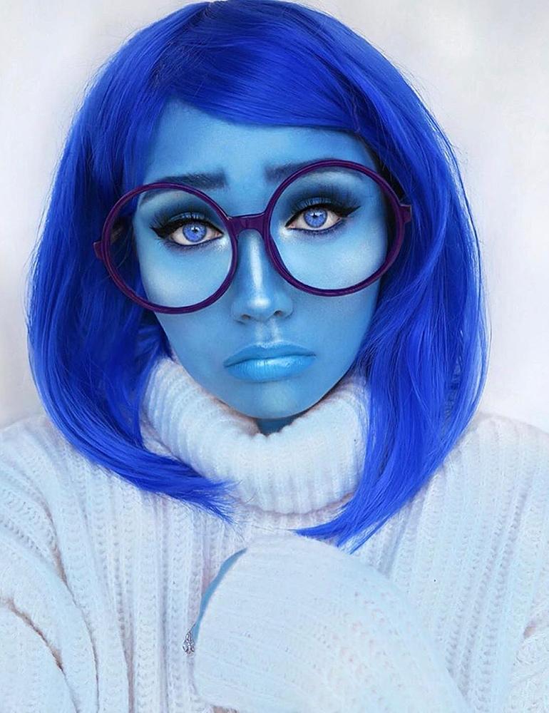 грим на хэллоуин синий грим печаль