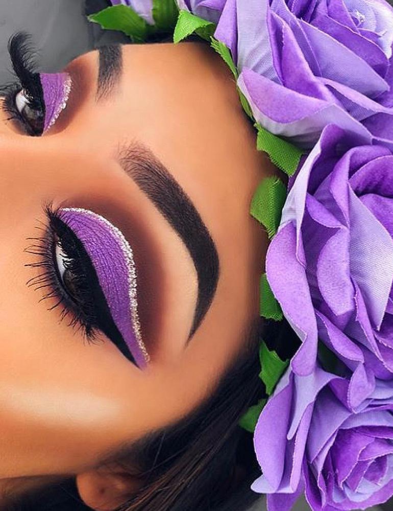 грим на хэллоуин фиолетовый мейк ап