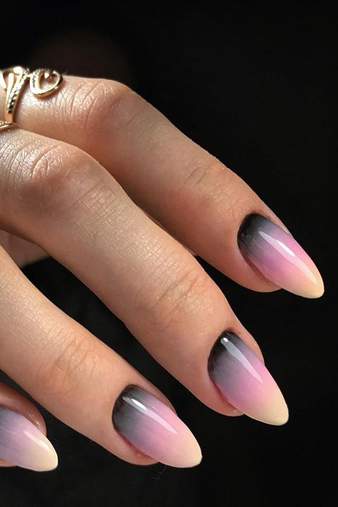 маникюр омбре черный с розовым