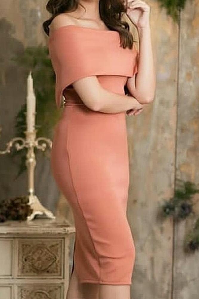 коктейльные платья персик