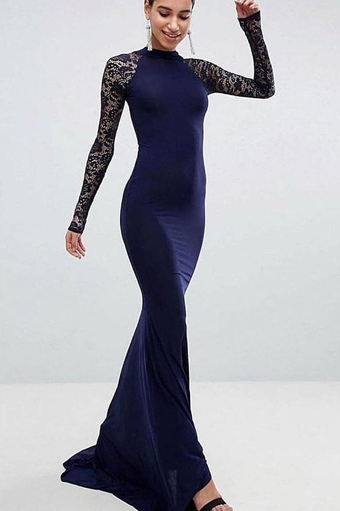 коктейльные платья макси синее кружевные рукава