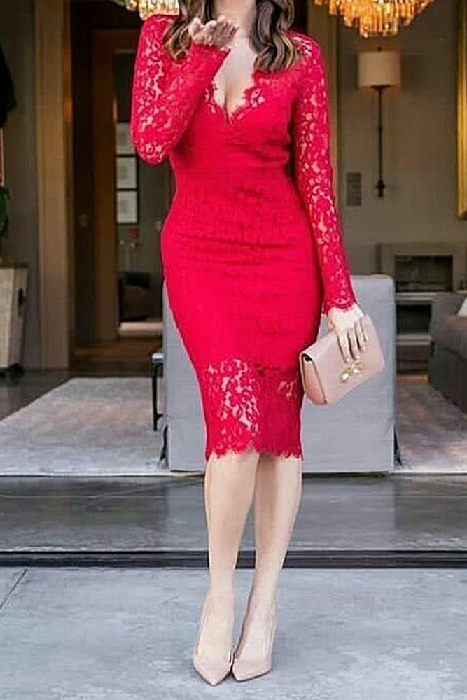 коктейльные платья красное кружево