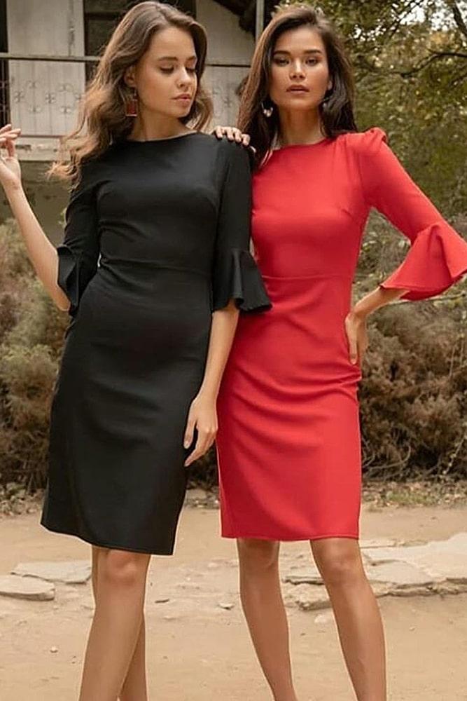 коктейльные платья красное и черное