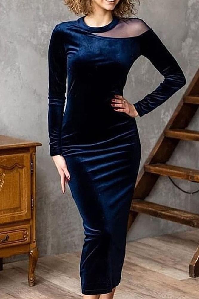 коктейльные платья бархат синий