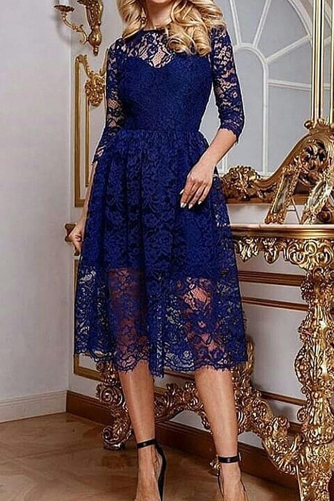 коктейльные платья синие кружева