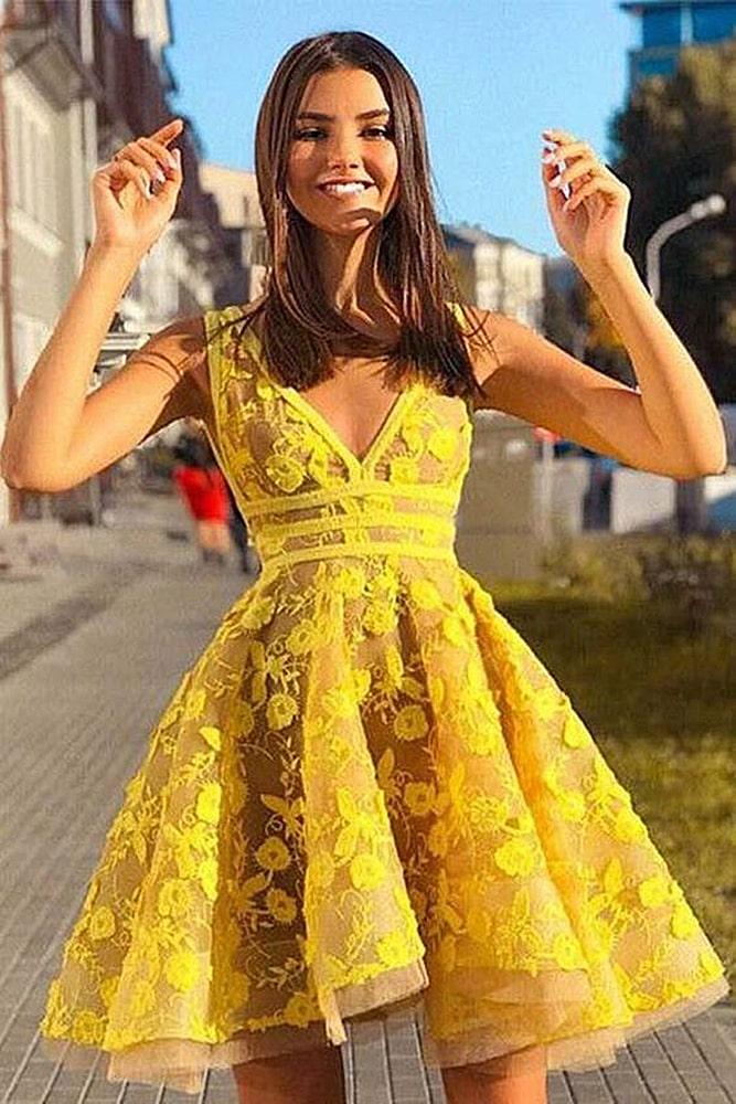 коктейльные платья желтое