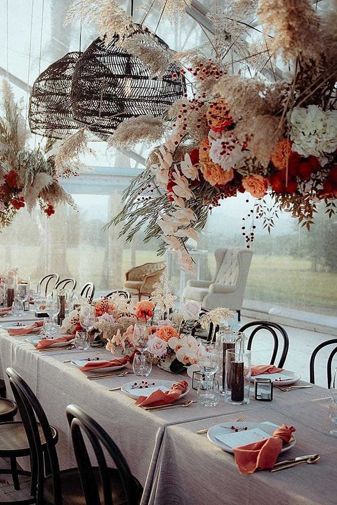 декор свадьбы подвесной декор пампасная трава