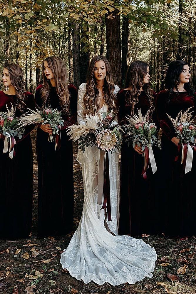 декор свадьбы цвет бургунди подружки невесты