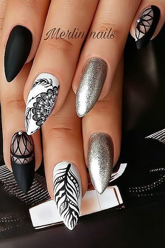 новогодний маникюр черный серебро