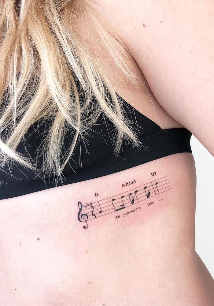 маленькие татуировки ноты