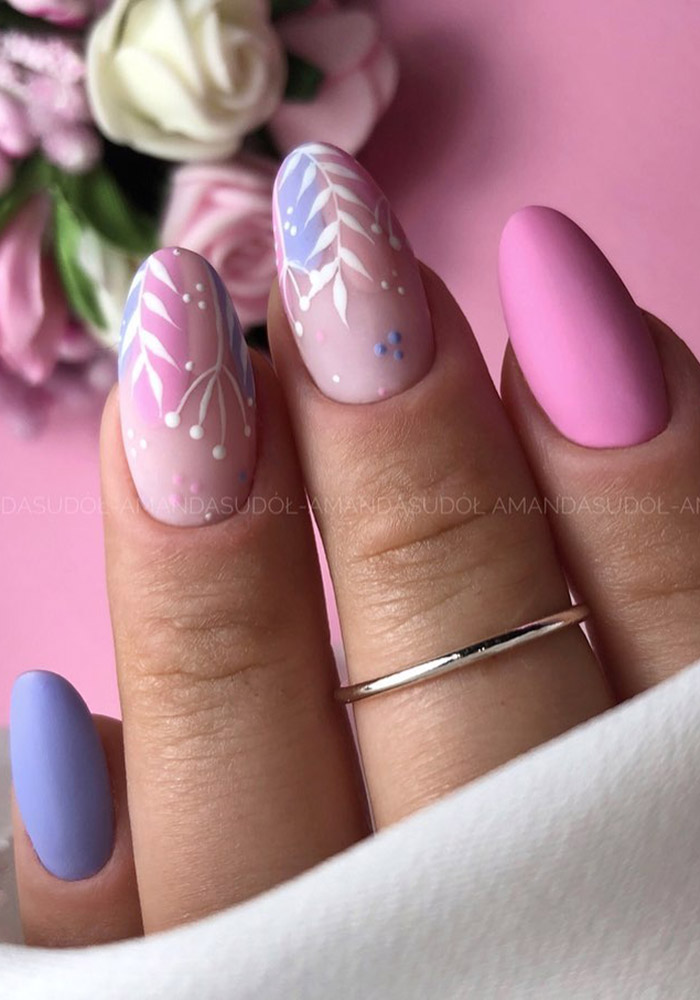 маникюр на 8 марта розовый сиреневый