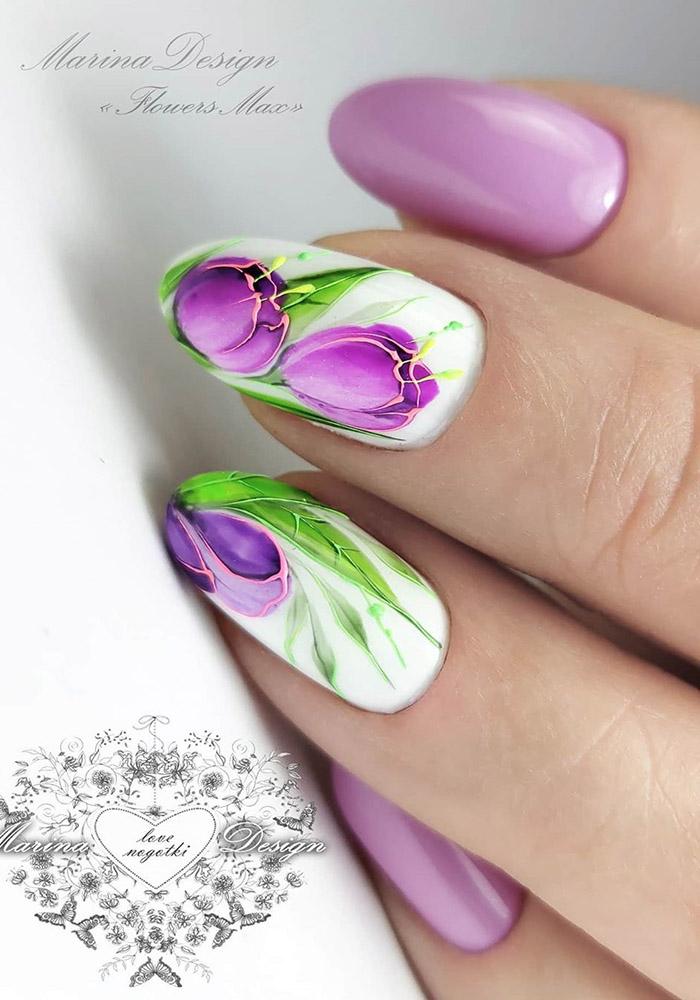 маникюр на 8 марта тюльпан